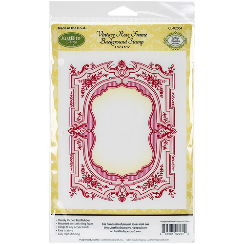"Justrite  Papercraft Cling Background Stamp 4.5""X5.75""-Vintage Rose Frame"