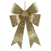 "12"" Gold Sequin and Glitter Bow Christmas Ornament"