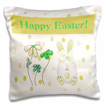 3dRose Easter Egg Bunny Rabbit with Flowers on Dots, Mustard Yellow, Green, Aqua, Pillow Case, 16 by 16-inch