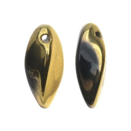 Jet Twist - Czech Glass Twist Beads, Side Drilled 12x6mm, 1 Strand, Jet Amber
