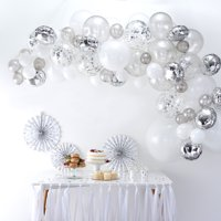 Ginger Ray Premium Silver Balloon Garland DIY Arch Kit, includes 70 Assorted Latex & Foil Balloons plus 4m Balloon Tape