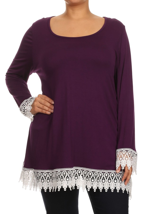 Women's  PLUS  trendy style , lace trim long sleeve solid tunic top.
