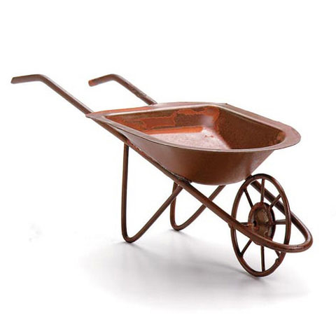 Tin Wheelbarrow - Rusted - 6 x 2 inches