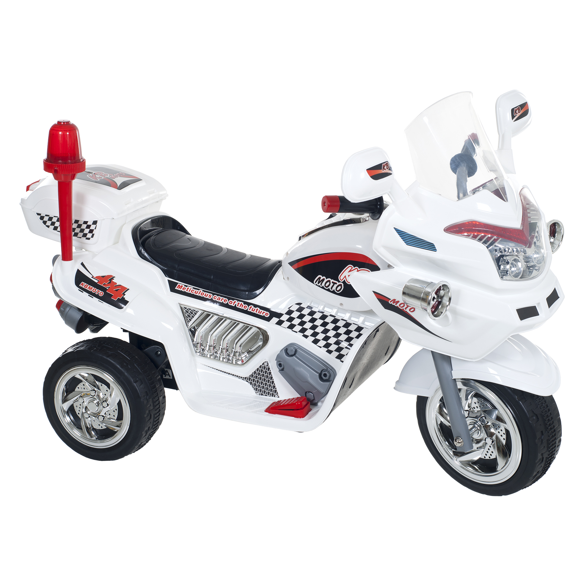 Ride on Toy, 3 Wheel Motorcycle Trike for Kids, Battery Powered Ride On Toy by Hey! Play! – Ride on Toys for Boys and Girls, 2 - 6 Year Old - White