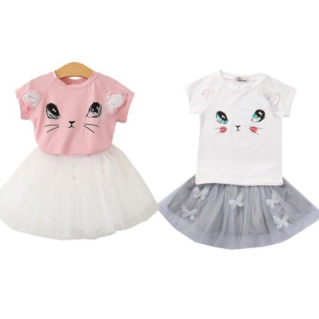 Toddler Kids Baby Girls Cat T-shirt Tops+Tutu Skirt Dress Outfits Clothing 2pcs Sets 2-7T - Kids Cat Outfit