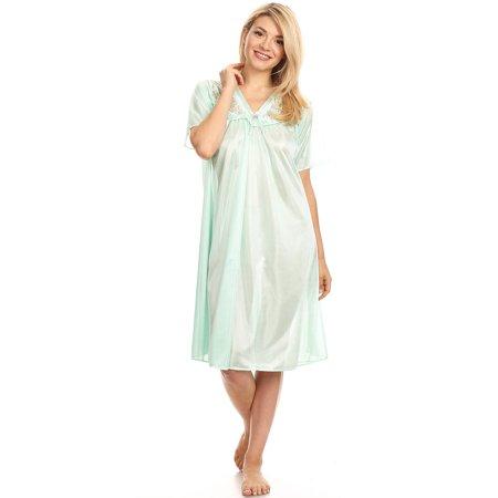 ad0152f7fe06 Lati Fashion - 9044 Women Nightgown Sleepwear Pajamas Woman Sleep Dress  Nightshirt Green L - Walmart.com
