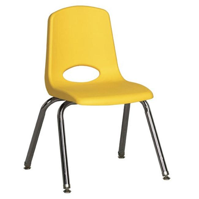 Early Childhood Resource ELR-0194-YEG 14 inch School Stack Chair with Chrome Ball Swivel Legs - Yellow