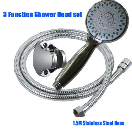 Chrome 3-Setting Hand Held Shower Massage Head Water Saving Multi-Function with Hose