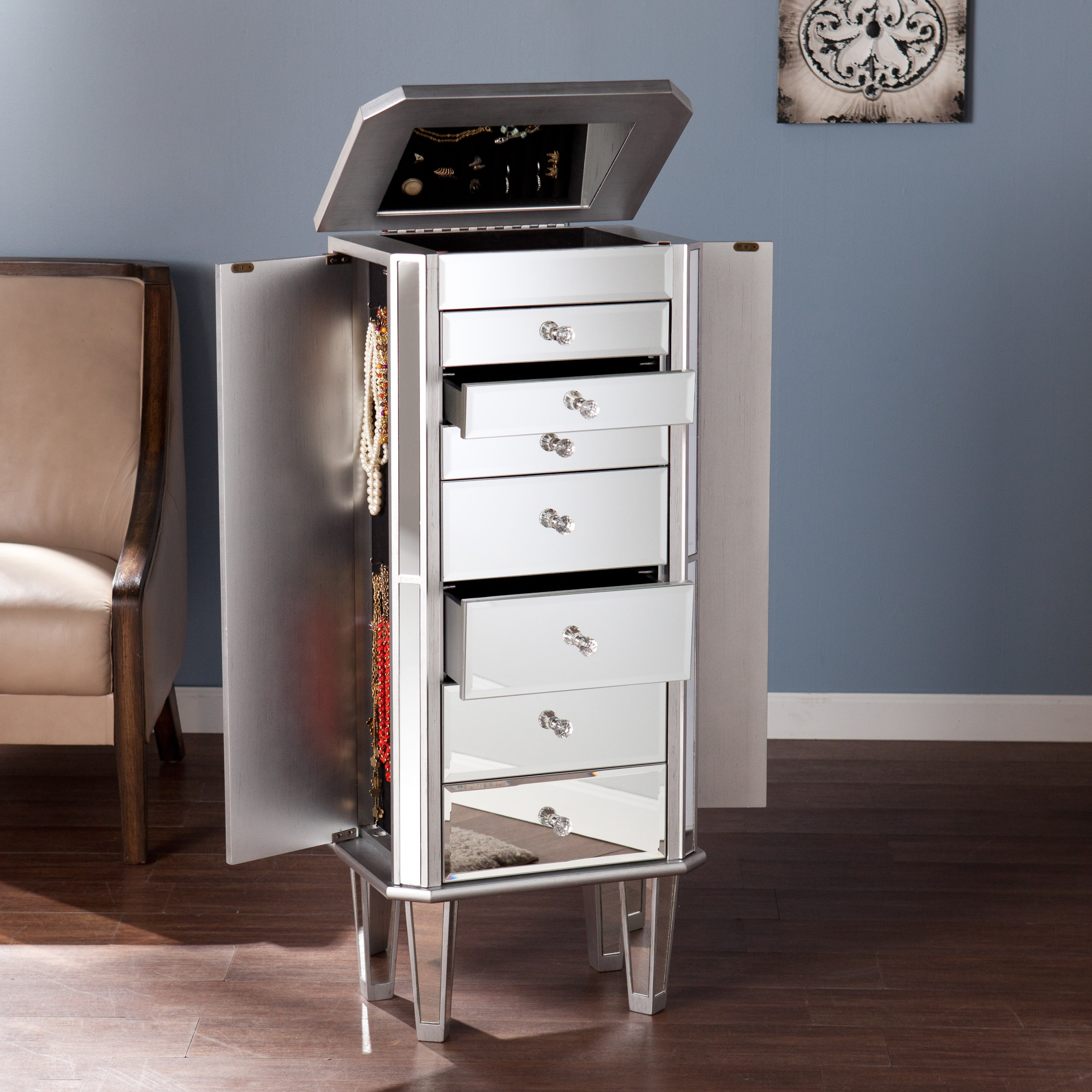 "Harper Blvd  Millicent Mirrored Jewelry Armoire - 42.25""h x 18""w x 13.5""d"