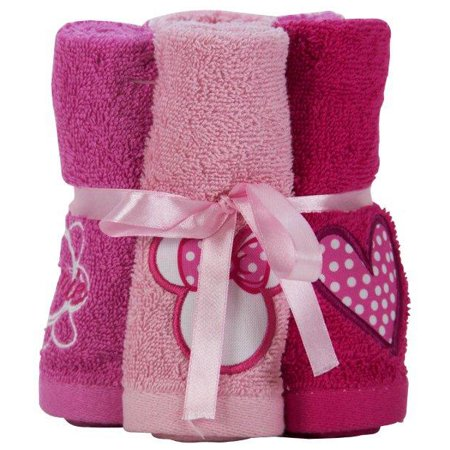 Disney Minnie Mouse Washcloth Pack, 6 Piece (Kids Bathroom Sets Minnie Mouse)