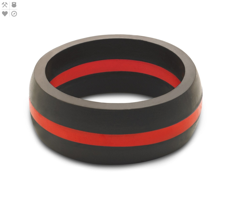 Qalo Men's Thin Red Line Silicone Ring, Size 14