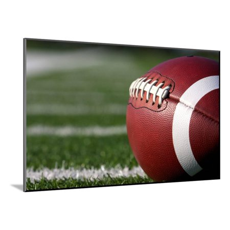 American Football close up on Field with Yard Lines in the Distance Wood Mounted Print Wall Art By 33ft