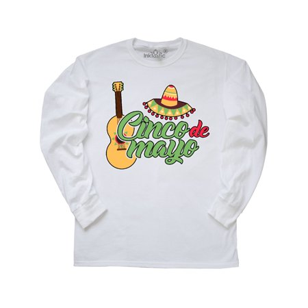 Cinco De Mayo with Guitar and Sombrero Long Sleeve T-Shirt](Black And White Sombrero)