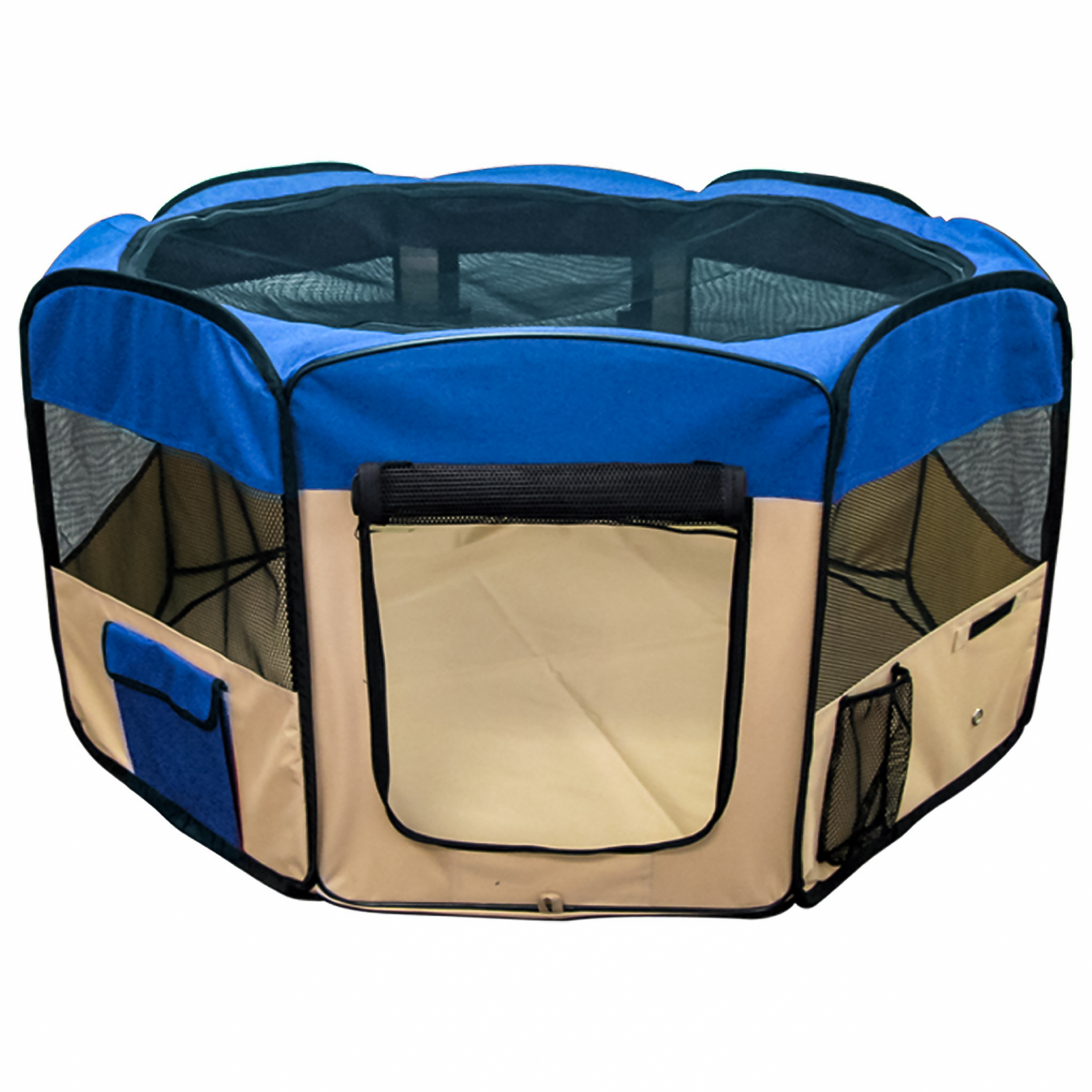 Best Choice Products 45in Cloth Pet Playpen w/ Zippered Doors, Carrying Case, Cover, Storage Bags, Folding Design - Blue