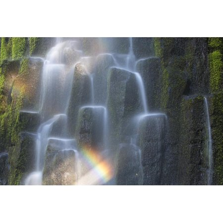 USA, Oregon, Proxy Falls. Waterfall Rainbow over Basalt Columns Print Wall Art By Jaynes