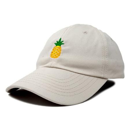 DALIX Pineapple Dad Hat Cotton Twill Baseball Cap Premium Stitched - Beige Stitch