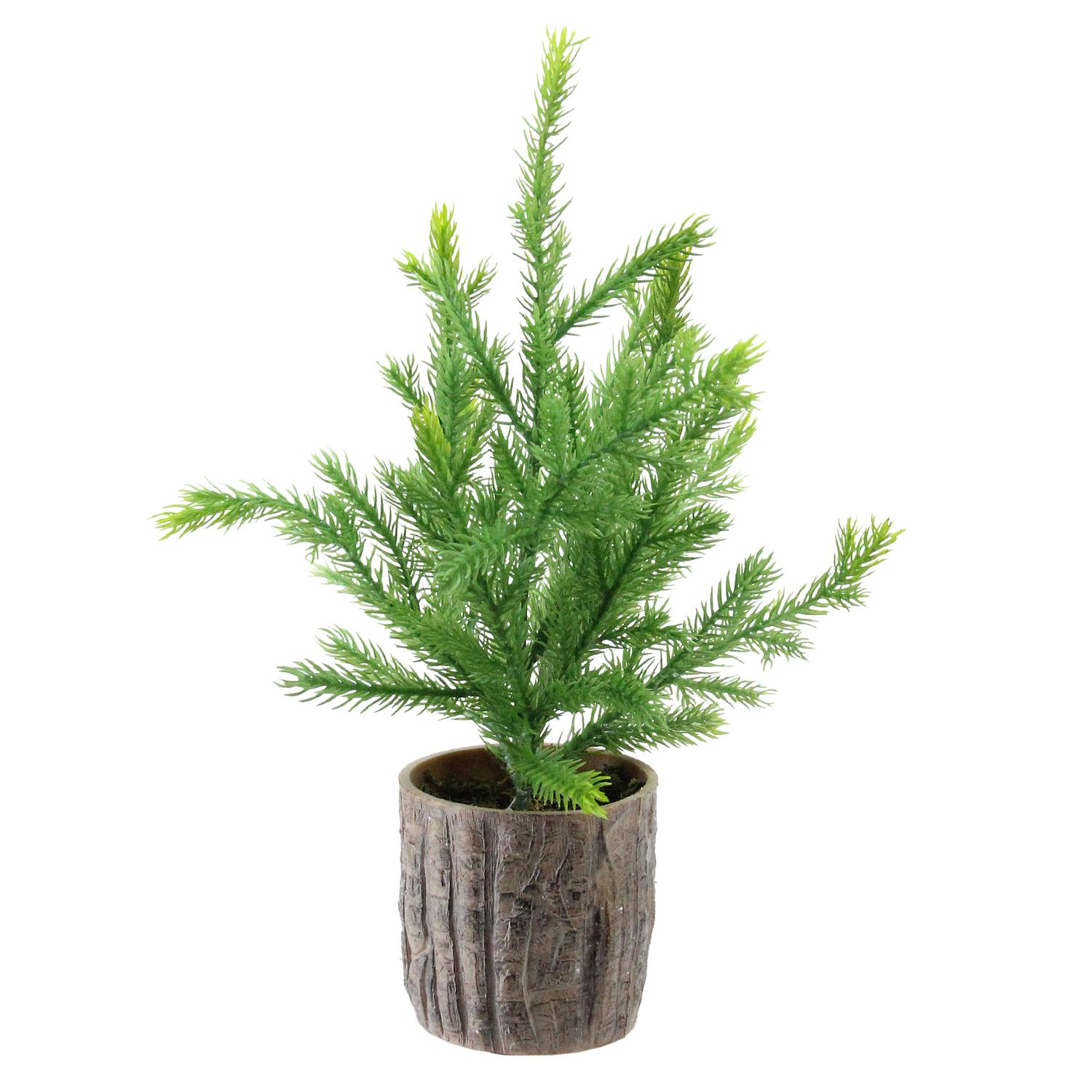 "12"" Artificial Pine Christmas Tree In Faux Wooden Pot ..."