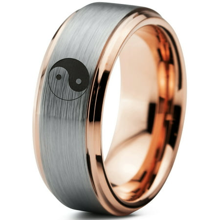 Tungsten Yin-Yang Band Ring 8mm Men Women Comfort Fit 18k Rose Gold Step Bevel Edge Brushed Polished Size (Comfort Fit Step Edge)