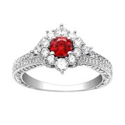 Selena Sterling Silver Cz Cluster Style Engagement Wedding Bridal Ring
