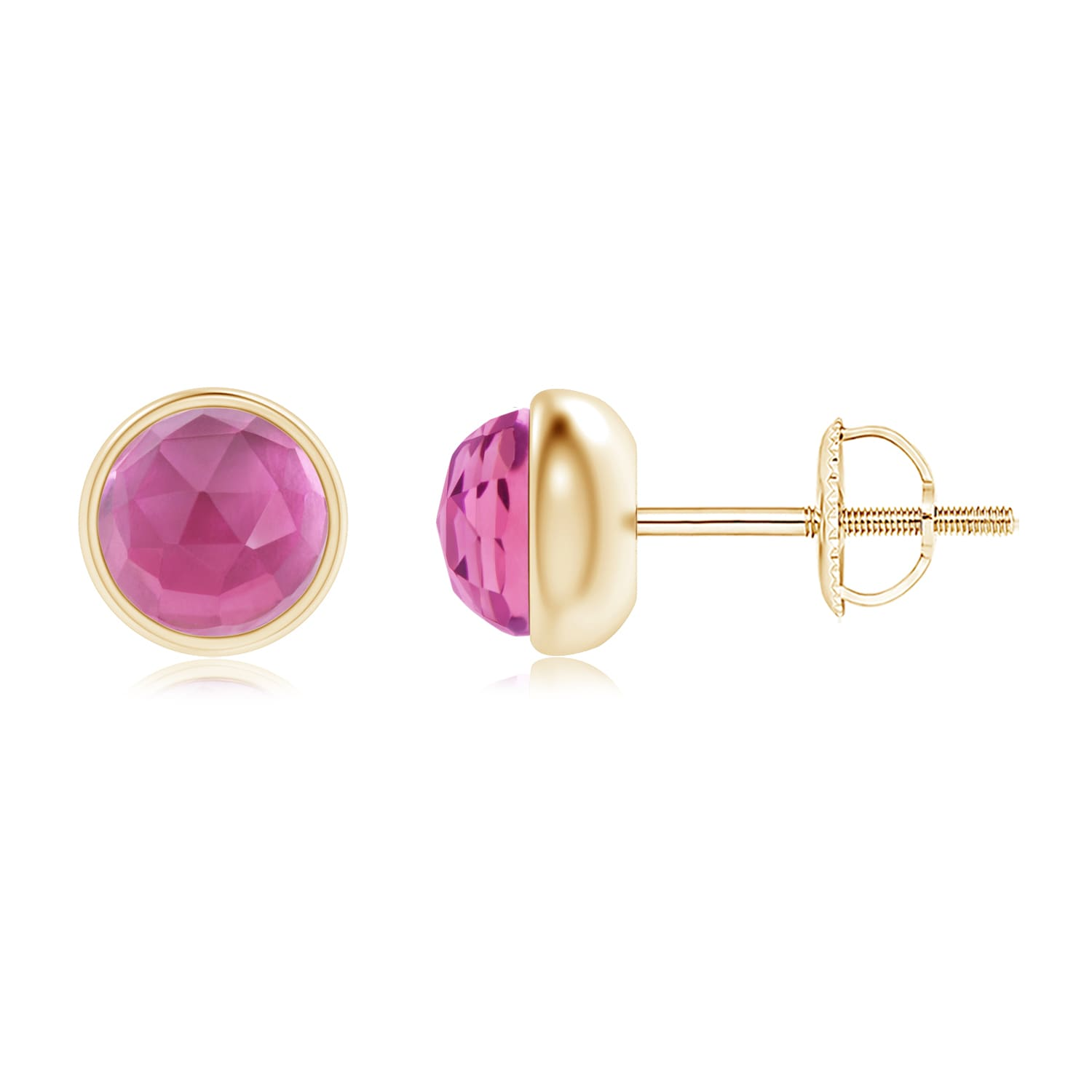 Angara Bezel Set Pink Tourmaline Solitaire Stud Earrings in Silver by Tourmaline Sets