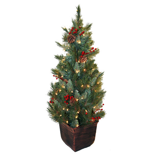 General Foam Plastics 4' Green Artificial Christmas Tree with 100 Yellow Pot Lights