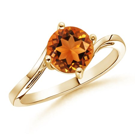 November Birthstone Ring - Classic Round Citrine Solitaire Bypass Ring in 14K Yellow Gold (7mm Citrine) - SR0163CT-YG-AAAA-7-9