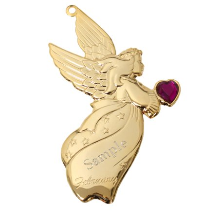 Personalized Goldtone Dapped Angel Ornament with Engraving - February - Personalized Angel Ornament