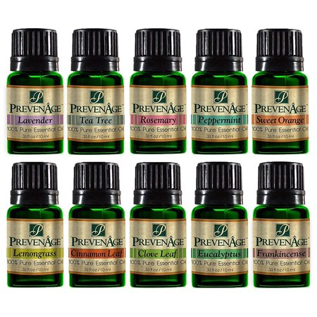 Top Essential Oil Gift Set - Best 10 Aromatherapy Oil Cinnamon Leaf, Clove Leaf, Eucalyptus, Frankincense, Peppermint, Lavender, Lemongrass, Rosemary, Sweet Orange, Tea Tree 10 ml by