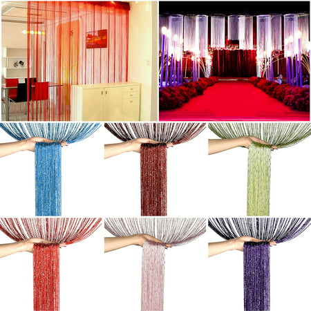 Glitter String Door Curtain Panel Bling Silver Ribbon Thread Fringe Strip Tassel Window Curtains Room Dividers Fly Screen Decor, 39x79inch, Multi Colors
