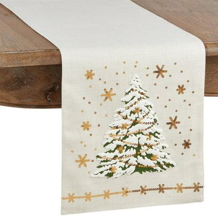 Fennco Styles Christmas Tree Sequins Festive Table Runner 13 x 72