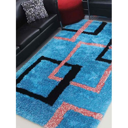 Rugsotic Carpets Hand Tufted Shag Polyester 6'x9' Area Rug Geometric Turquoise K00022 Hand Tufted Carpets