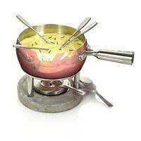 Boska Holland Life Collection 7pc Copper Pot Cheese Fondue Set w/ Concrete Base