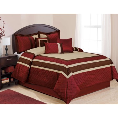 WT 7 Piece Faux Silk Pieced Pin Tuck Comforter Set Burgundy Color (Faux Silk Bedding)