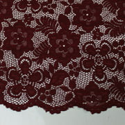 Burgundy 58'' Caroline Floral Scalloped Nylon Stretch Scalloped Lace Fabric by the Yard