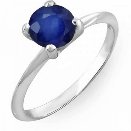 Dazzlingrock Collection 1.00 Carat (ctw) 14K Round Blue Sapphire Bridal Engagement Solitaire Ring 1 CT, White Gold, Size 6