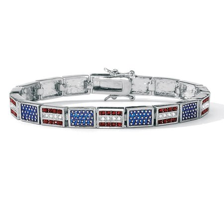 Red, White and Blue Crystal and Enamel Silvertone Patriotic Flag Bracelet 7 1/4