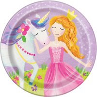 "7"" Magical Princess Paper Dessert Plates, 8ct"