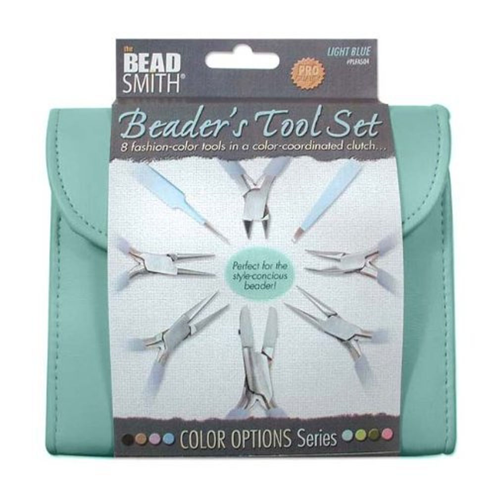 BEADSMITH 8 FASHION-BLUE COLOR TOOL SET FOR MAKING JEWELRY with COORDINATED CLUTCH CARRY CASE