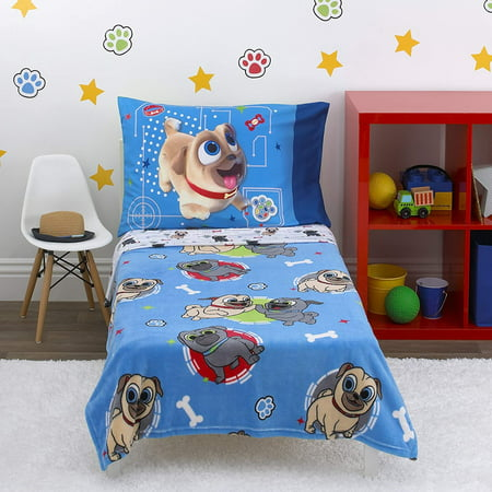 Disney Puppy Dog Pals - Puppy Pal Fun - 4Piece Toddler Bed Set - Coral Fleece Toddler Blanket, Fitted Bottom Sheet, Flat Top Sheet, Standard Size Pillowcase, Blue, Red, Gray, Tan