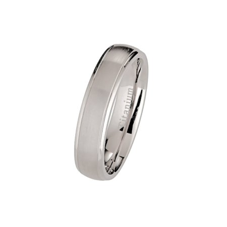 5mm Brushed Polished Titanium Wedding Ring Comfort Fit Band