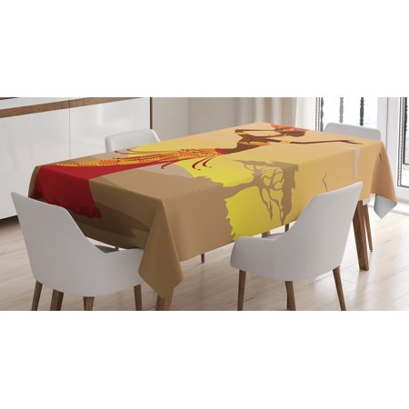 Zip Around Folio (Afro Decor Tablecloth, African Woman in Desert with Gulls Flying Around Folk Female Stylish Artful Print, Rectangular Table Cover for Dining Room Kitchen, 52 X 70 Inches, Amber Tan, by Ambesonne)