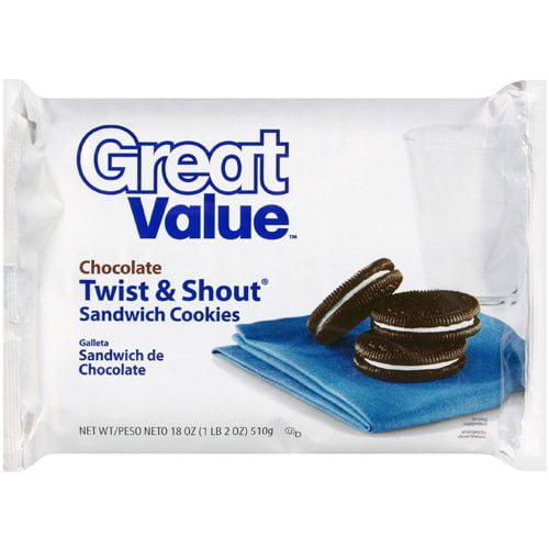 Great Value: Chocolate Twist & Shout Sandwich Cookies, 18 Oz