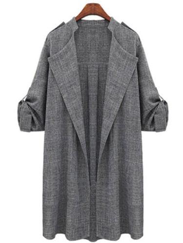 FarJing Clearance Women Plus Size Fashion Solid Cloak Button Long Coat Shawl Windbreaker