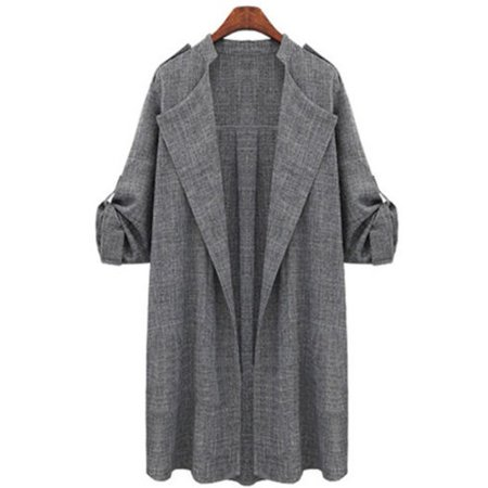 f0a28b55532 Plus Size Womens Autumn Fall Winter Outwear Long Trench Coat Overcoat  Jackets Cardigan Duster Tops - Walmart.com