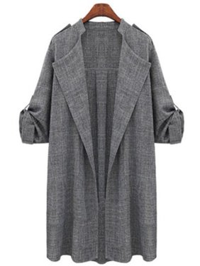 Plus Size Womens Autumn Fall Winter Outwear Long Trench Coat Overcoat Jackets Cardigan Duster Tops