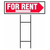 "Hy-ko 10"" x 24"" Red and White for Rent Sign"