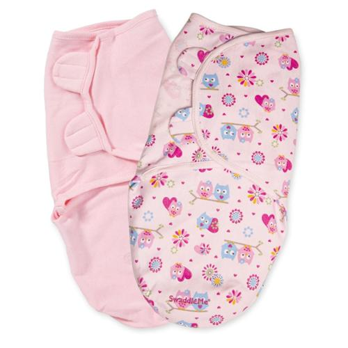 Summer Infant 2 Count Swaddleme Blanket, Pink Hoot, Small/Medium