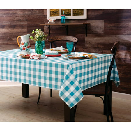 White Tablecloth With Burlap Runner (The Pioneer Woman Charming Check Fabric Tablecloth, 60