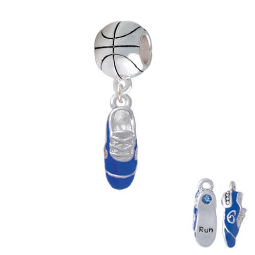3-D Blue Running Shoe - Basketball Charm Bead