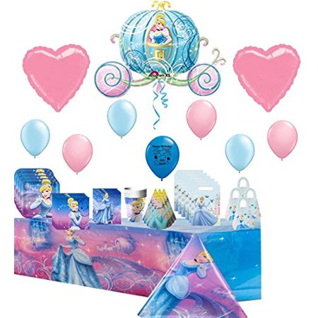 Cinderella Deluxe Party Supply and Balloon Decoration Kit Bundle Caribbean Deluxe Party Kit